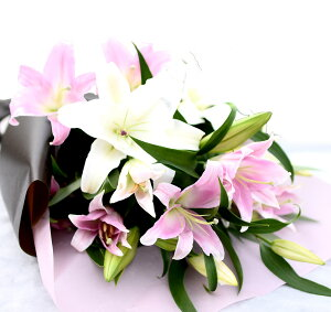 カサブランカとピンクゆりの花束誕生日結婚祝い記念日送別退職祝い歓送迎会古希傘寿開店祝い花送料無料紅白束エントワインドEntwined花ギフト