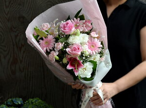 誕生日女性送別定年退職結婚記念日結婚祝いピンクフラワーお見舞い優しいあなた花束送料無料母クール便