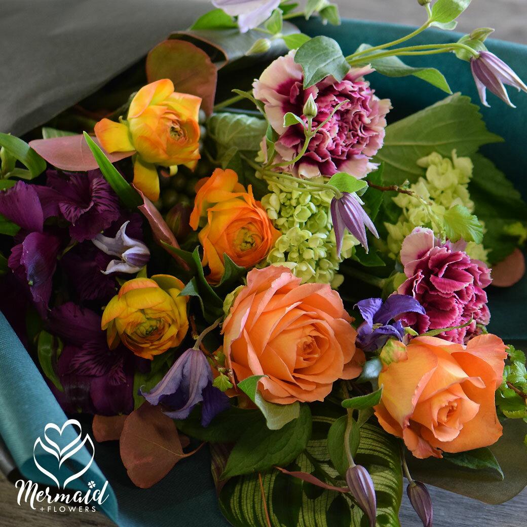 花 フラワー ギフト 誕生日 花束 ブーケ 祝い 人気 送別 定年 退職 誕生日 バラ 薔薇 フレンチスタイル スタイリッシュ 華やか 上品 バレンタイン 愛妻の日 祝い