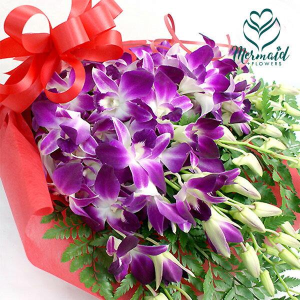 長寿を願う◆華やか洋蘭 デンファレ花束 デンファレとグリーンの花束 供花 同梱オプション追加OK 送料無料