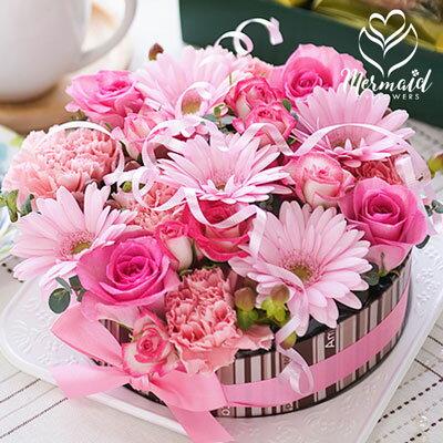 誕生日 フラワーケーキ アレンジ 送料無料 ケーキBOX入り 生花 プレゼント フラワー ギフト 結婚記念日 結婚祝い 母 誕生日プレゼント
