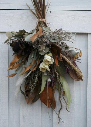玄関花誕生日結婚祝いお礼歓送迎ドライフラワーリーススワッグ『グレビリア・スワッグ』