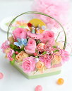 花 誕生日 雛祭り お礼 ひなまつり 初節句 ひしもち アレンジメント 桃の節句の贈り物お祝い フラワー 生花 雛人形 花 フラワー ピンク…