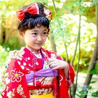【七歳】おはりばこの七五三レンタル衣裳♪正絹アンティーク着物で七五三!!【No.n25】【赤地梅づくし四つ身】【巾着&はこせこ付き】