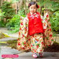 【三歳】おはりばこの七五三レンタル衣裳♪正絹アンティーク着物で七五三!!【紫縮緬地花薬玉文一つ身】