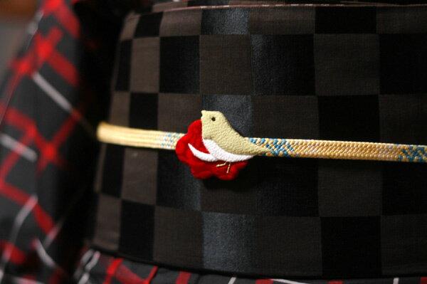 光琳梅と鶯(うぐいす)の帯留【着物】【帯飾り】【鴬】