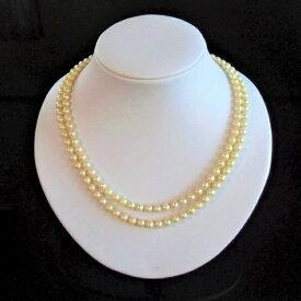 【送料無料】【あす楽対応】アコヤ真珠 二連 ネックレス 5.5-6.0mm ゴールド 真珠 あこや真珠 パール ギフト プレゼント フォーマル カジュアル