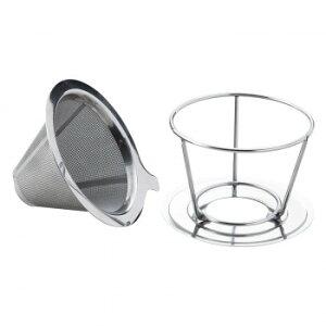 ステンレス製のコーヒードリッパー ドリップ 二層メッシュ スタンド 器具 紙フィルター不要 マグカップ エコ 分離 ペーパーレス コップ 再利用可 両用型 コーヒーフィルター 【代引き・同