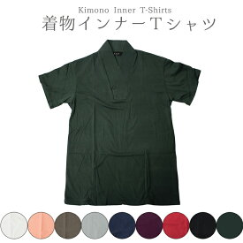 着物インナー カラー Tシャツ 男 メンズ (全9色/M/L/LLサイズ) 半襦袢 肌着 さむえ 浴衣 和装 着物 綿 男性 シャツ 肌着【ネコポス可/A】