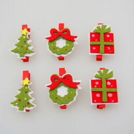フェルトクリスマスクリップ6本セット【クリスマス雑貨/クリスマス小物】