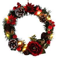 LEDライト付きクリスマスリース25cmレッド【LEDライト/玄関/高級/おしゃれ】