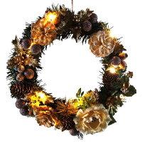 LEDライト付きクリスマスリース25cmゴールド【LEDライト/玄関/高級/おしゃれ】