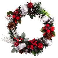 クリスマスリース25cmナチュラルスノーレッド【玄関/高級/おしゃれ】