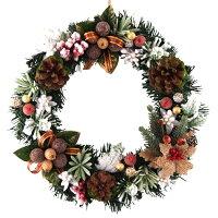 クリスマスリース25cmナチュラルスノーブラウン【玄関/高級/おしゃれ】