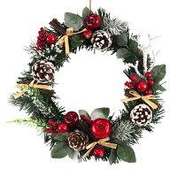 クリスマスリース20cmナチュラルスノーレッド【玄関/高級/おしゃれ】