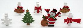 ウッドクリスマスクリップ 7本セット スノーマンツリー【クリスマス雑貨/クリスマス小物】