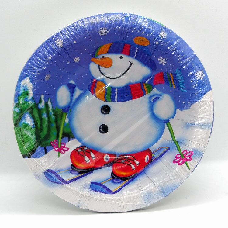 クリスマスパーティー紙食器プレートB6個セット スノーマン【クリスマス雑貨/クリスマス食器】