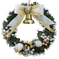 クリスマスリース20cmホワイトゴールド【枝リース】