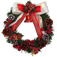 クリスマスリース20cmホワイトレッド【枝リース】