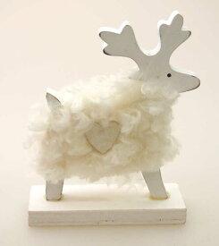 ウッドクリスマストナカイスタンド ホワイト【クリスマス雑貨/クリスマス小物】