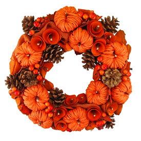 ハロウィンナチュラルリースLサイズ オレンジカラー あす楽 ハロウィン パンプキン 装飾 飾り オータムリース