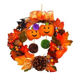 ハロウィンリース20cm ハットパンプキン あす楽 ハロウィン かぼちゃ 魔女 玄関 装飾 飾り 国内生産