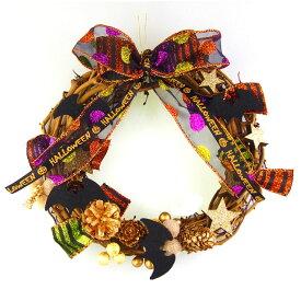 ハロウィンリース20cm キラキララメリボン ハロウィン コウモリ 装飾 飾り 国内生産