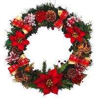 クリスマスリース50cmレッド【枝リース】