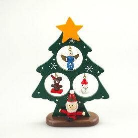 ウッドおすわりサンタミニデコツリー グリーン【クリスマス雑貨/クリスマス置物】