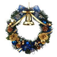 クリスマスリース30cmブルー/ゴールド【枝リース】
