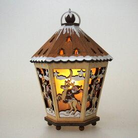 LEDウッドライトハウス 六角ブラウン【クリスマス雑貨/クリスマス置物】