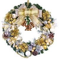 クリスマスリース50cmパールゴールド【玄関/高級/おしゃれ/国内生産】
