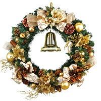 クリスマスリース60cmゴールド【玄関/高級/おしゃれ/国内生産】