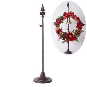 クリスマスリーススタンド ポールアンティークブラウン 装飾 インテリア