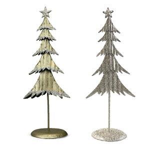 メタルクリスマスツリースタンド(S)ゴールド&シルバー【クリスマス/アンティーク】