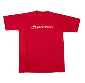 ファイテン RAKUシャツ SPORTS 吸汗速乾 半袖 ロゴ入り S(ユニセックス) Tシャツ JG168003-RED(レッド(ロゴ:金))