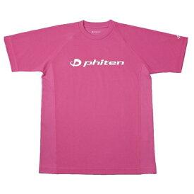 ファイテン RAKUシャツ SPORTS 吸汗速乾 半袖 ロゴ入り M(ユニセックス) Tシャツ JG175004-WHT(チェリーピンク(ロゴ:白))