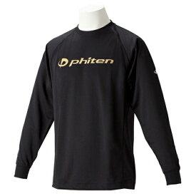 ファイテン RAKUシャツ SPORTS 吸汗速乾 長袖 ロゴ入り LL(ユニセックス) Tシャツ JG180206-GLD(ブラック(ロゴ:金))