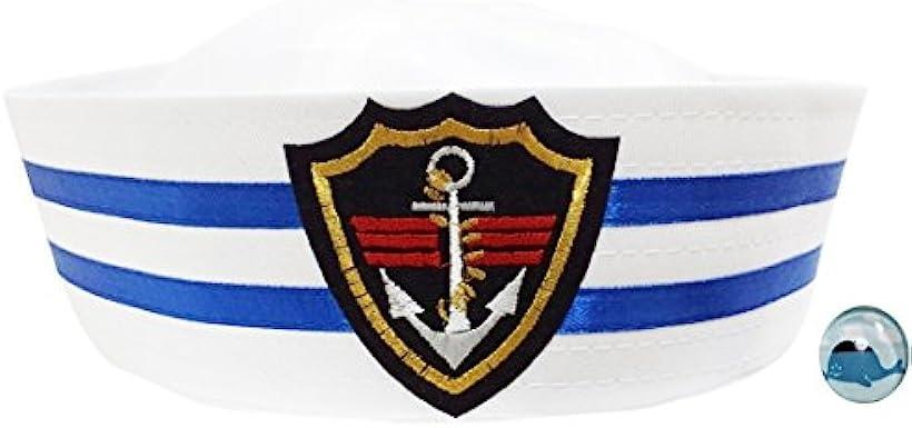 白い セーラー帽 水兵 帽子 海軍 ハット くじらピンバッジ付き なりきり2点セット S208 タイプA 子供用54cm [タイプA 子供用54cm] [Madrugada(マドルガーダ)]