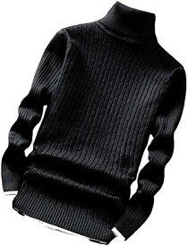 ハイネック スリム ケーブル ニット セーター メンズ(ブラック, 01.M(日本サイズ:S))
