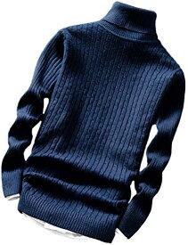 ハイネック スリム ケーブル ニット セーター メンズ(ネイビー, 01.M(日本サイズ:S))