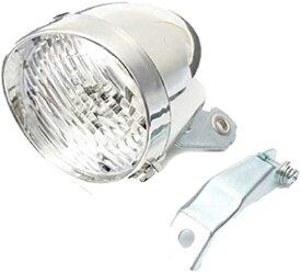 自転車 ヘッド ライト 砲弾型 3 LED レトロ クラシック デザイン 電池式 金具 付(シルバー)