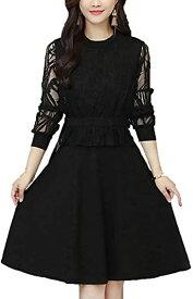 シーポンレディース 春夏 お呼ばれ カジュアルパーティー 黒 XXL 大きいサイズ セミフォーマル ワンピース ドレス(ブラック, 2XL)