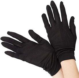 スリーピングシープ ひんやり サラサラ シルク100% UV 手袋 ハンドケア 手のお手入れに(ブラック, M)
