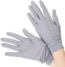 スリーピングシープ ひんやり サラサラ シルク100% UV 手袋 ハンドケア 手のお手入れに[シルク 手袋 ブラック 紫外線](グレー, M)