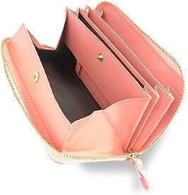 牛革 長財布 ラウンドファスナー ギャルソンウォレット 大きく開く 小銭入れ メンズ レディース 光沢なし(ピンク/光沢なし)