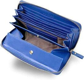牛革 長財布 ラウンドファスナー ギャルソンウォレット 大きく開く 小銭入れ メンズ レディース(ブルー)