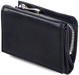 小さい財布 紺小さい 三つ折り財布 コンパクト ウォレット サイフ メンズ レディース プレゼント(ネイビー)