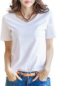 Vネック tシャツ 半袖 おしゃれ ベーシック トップス 黒 灰 赤 黄 レディース Tシャツ お洒落 カットソー キレイメ 着やすい 可愛い 服 ナツ 夏 メンズ 長袖 ユッタリ 大きいサイズ ビジネス ボート ギャザー ボウタイ(白M)