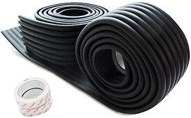 赤ちゃん ケガ防止 ガード コーナークッション 2m×2セット 自由自在 かんたん設置 取付説明書付 カラー7色 両面テープ付き(ブラック)